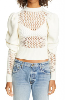 Isa Boulder Ivory Puff Sleeve Open Knit Sweater