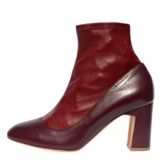 Rupert Sanderson Leather & Suede Burgundy Sock Boots