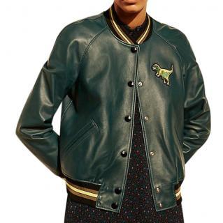 Coach Bottle Green Rexy Leather Varsity Jacket