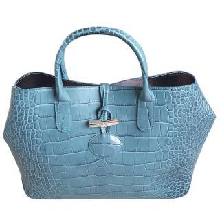 Longchamp Jade Roseau Crocodile Embossed Leather Tote Bag