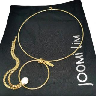 Joomi Lim Gold Tone Crystal Hoop Drop Necklace