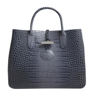 Longchamp Pilot Blue Roseau Crocodile Embossed Leather Tote Bag