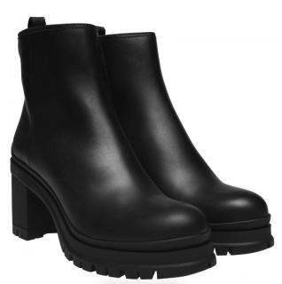 Prada Black Leather Chunky Heeled Ankle Boots