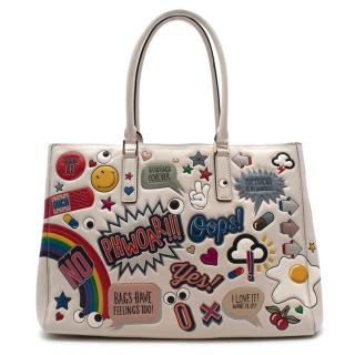 Anya Hindmarch White Leather Ebury Stickers Bag