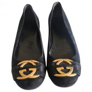 Gucci Black Interlocking G Ballerinas
