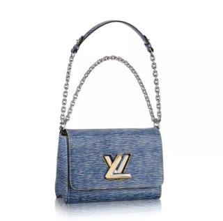 Louis Vuitton Blue Light Denim Epi Leather Twist MM Bag