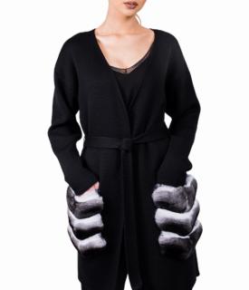 FurbySD Black Merino Wool Chinchilla Fur Pocket Cardigan