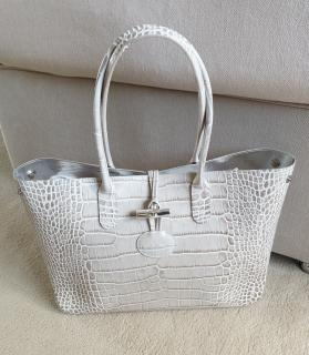 Longchamp Ivory Roseau Croc Embossed Tote Bag