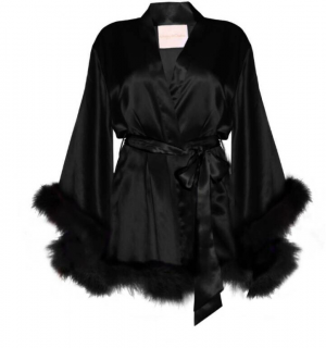 Maguy De Chadirac Black Silk Marabou Feather Trim Kimono Robe
