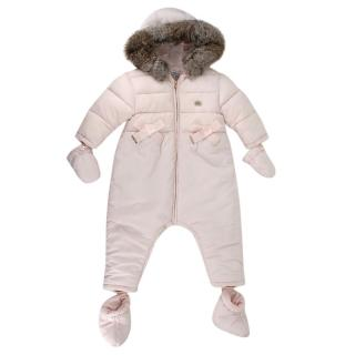 Tartine et Chocolat Pink Fur Trimmed Snow Suit