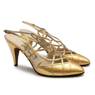 Ferragamo Gold Leather Strappy Limited Edition of 500 Pumps