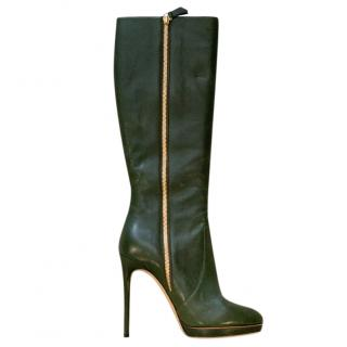 Casadei Bottle Green Leather Knee Boots