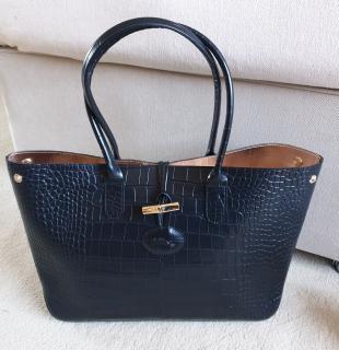 Longchamp Black Croc Embossed Roseau Tote Bag