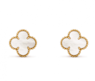 Van Cleef & Arpels 18kt Yellow Gold Mother Of Pearl Alhambra Earrings