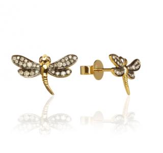 Annoushka Love Diamonds 18ct Gold Diamond Dragonfly Studs