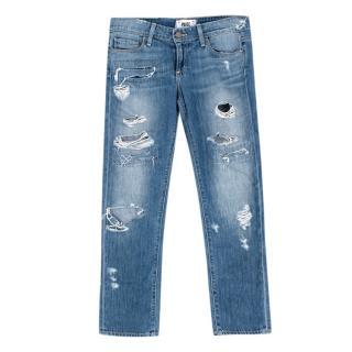 Paige Blue Denim James Crop Distressed Jeans
