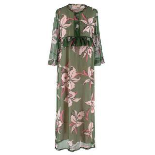 Marni Green & Pink Floral Silk Ruffled Sheer Maxi Dress