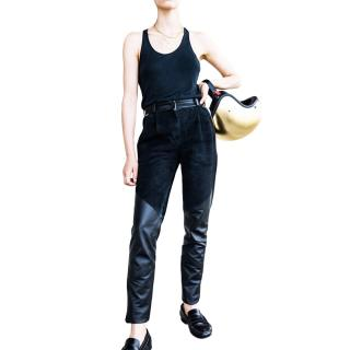 Alice Balas Black Leather & Suede Paneled Trousers