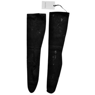 Gucci GG Black Floral Lace Embroidered Socks