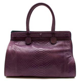 Zagliani Purple Python Skin Top Handle Bag