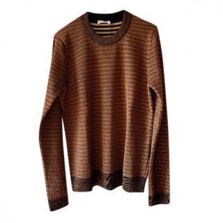 Sonia Rykiel Striped Brown Lurex Knit Jumper
