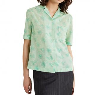Commission Green Floral Cotton Bowling Shirt