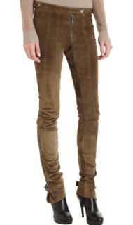 Belstaff Suede Khaki Zip-Detail Skinny Pants