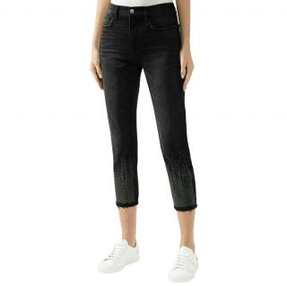 Current/Elliott Vintage Cropped Studded JEans