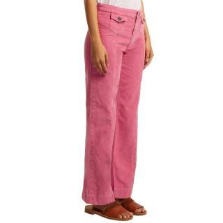 MiH Pink Corduroy Wide Leg Pants