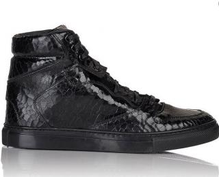 Balenciaga Black Cracked-Effect High Top Sneakers