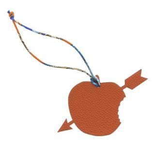 Hermes Togo Leather Orange/Grey Arrow Apple Petit H Bag Charm
