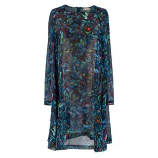 Dries Van Noten Marble Print Sheer Crepe Flared Dress