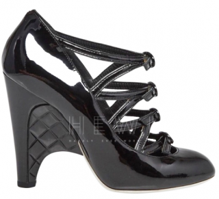 Chanel Patent Leather Buckle Detail Quilted Platform Sandals