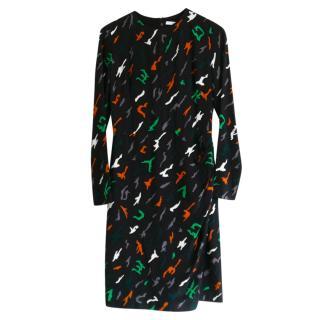Givenchy Silk Crepe Black Abstract Camo Print Dress