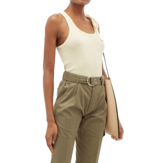 La Fetiche Jean - Pierre Beige Cotton Ribbed Knit Army Tank Top