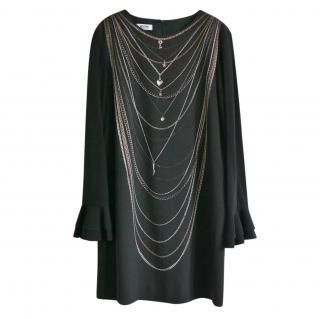 Moschino Cheap & Chic Black Chain Print Shift Dress