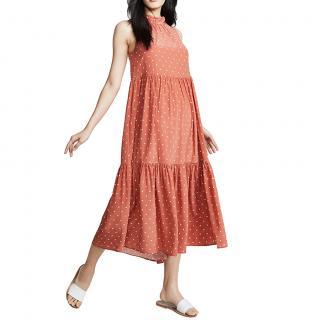 Asceno Orange Polka Dot Silk Midi Dress