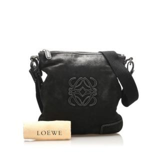 Loewe Black Leather Anagram Crossbody Bag