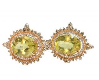 Noor Fares 18ct Yellow Gold Lemon Quartz & Diamond Earrings