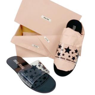 Miu Miu Black PVC Star Print Sandals