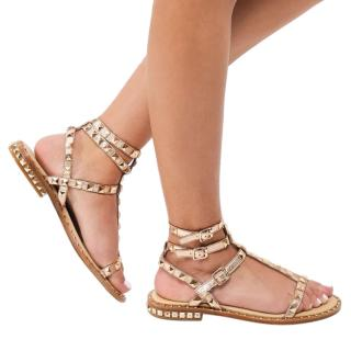 ASH Gold Metallic Studded Poison Sandals