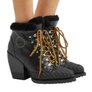 Chloe Black Shearling Lined Rylee Ankle Boots