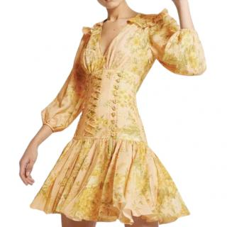 Zimmermann Peach Amelie Printed Corset Dress