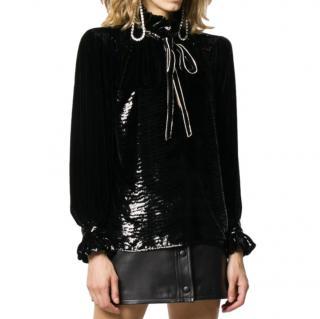 Saint Laurent crystal-embellished poet blouse