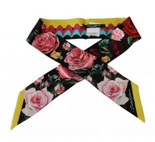Dolce & Gabbana Floral Printed Silk Twilly