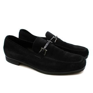 Ermenegildo Zegna Black Suede Loafers