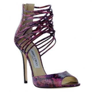 Jimmy Choo Purple Elaphe Snakeskin Sandals