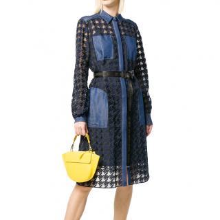 Karl Lagerfeld Sheer Houndstooth Denim Trimmed Midi Dress