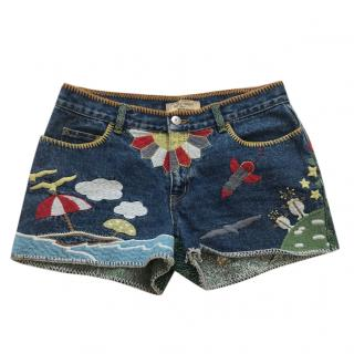 See by Chloe Embroidered Denim Shorts