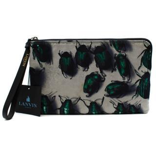 Lanvin Silk Blend Satin Beetles Print Clutch Bag